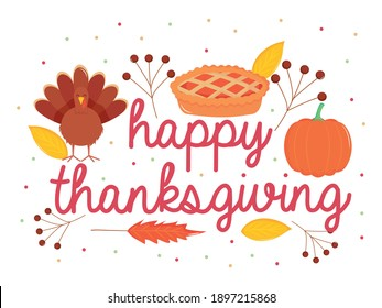 happy thanksgiving design with cartoon turkey, apple pie and pumpkin with decorative dry leaves around over white background, colorful design, vector illustration