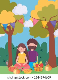 happy thanksgiving family, couple sitting in the park with food vector illustration