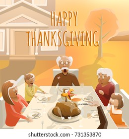Happy Thanksgiving. Fun Greeting Card. Vector Illustration of Big Family that Celebrate Thanksgiving Day Sitting at Table Outdoors. Shocked Live Turkey. Colorful Illustration. Vector Background.