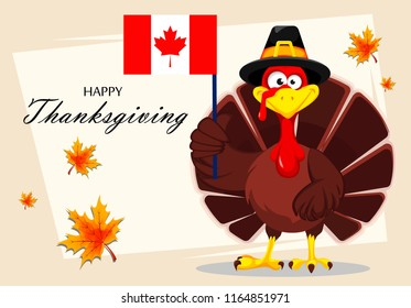 Happy Thanksgiving, greeting card, poster or flyer for holiday. Thanksgiving turkey holding Canadian flag. Vector illustration on abstract light background