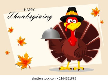 Happy Thanksgiving, greeting card, poster or flyer for holiday. Thanksgiving turkey holding restaurant cloche. Vector illustration on abstract light background