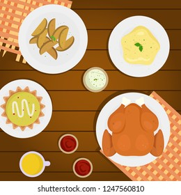 Happy Thanksgiving, greeting card, poster or flyer for holiday. Thanksgiving turkey. Vector illustration on abstract cartoon holiday foods, Thanksgiving Food Table, brown table