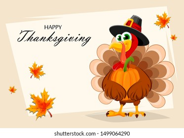 Happy Thanksgiving, greeting card, poster or flyer for holiday. Thanksgiving turkey holding pumpkin. Vector illustration with maple leaves on background