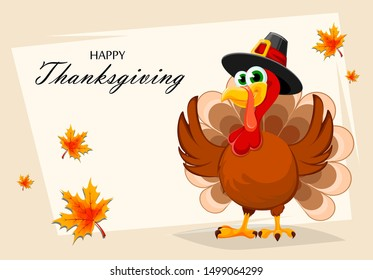 Happy Thanksgiving, greeting card, poster or flyer for holiday. Thanksgiving turkey cartoon character. Vector illustration with maple leaves on background