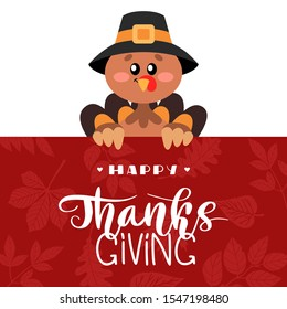 Happy Thanksgiving Greetings. A turkey with hand drawn lettering style. Decorated banner concept with autumn leaves. Vector design for greeting card, poster, flag, print.