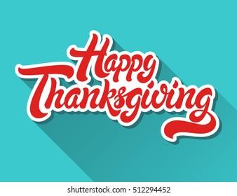Happy Thanksgiving hand drawn lettering design vector illustration