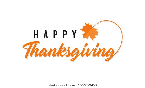 Happy Thanksgiving hand written calligraphic text isolated on white background vector illustration