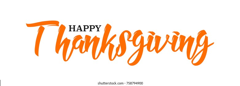 Happy Thanksgiving hand written calligraphic text, vector illustration. Script orange stroke, simple minimalistic calligraphic words isolated on white background, for web banners, greeting cards.