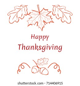 Happy thanksgiving. Hand-drawn pattern with maple and oak leaves and acorns.