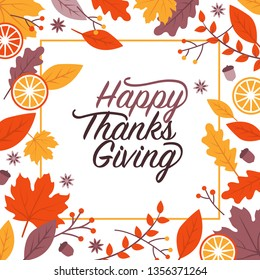 Happy thanksgiving holiday card and social media post with leaves frame