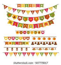 Happy Thanksgiving Holiday Decorations Set in Flat Style Isolated on White Background, Vector Illustration. Festive Garland, Flags with Thanksgiving Icons Collection