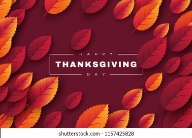 Happy Thanksgiving holiday design with bright autumn leaves and greeting text. Dark background. Vector illustration.