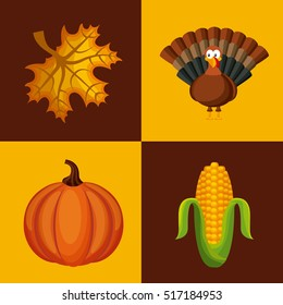 happy thanksgiving  icons inside colorful squares.  vector illustration