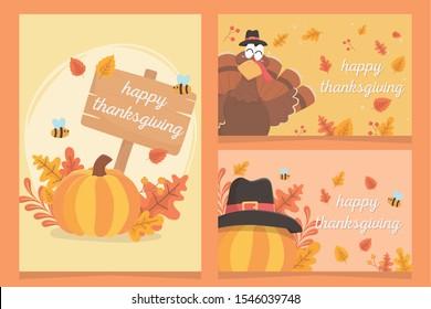 happy thanksgiving inscription turkey pumpkins pilgrim hat leaves celebration cards vector illustration