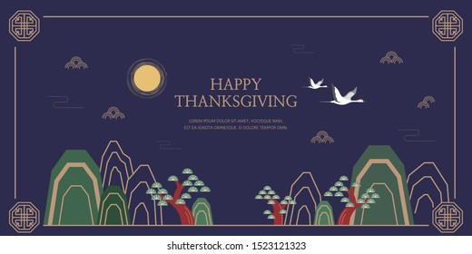 Happy Thanksgiving & Korean traditional background