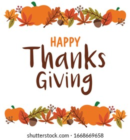 HAPPY THANKSGIVING lettering typography,  fall theme