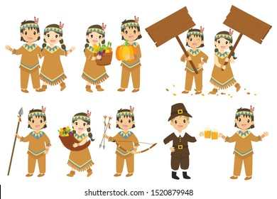 Happy Thanksgiving Native American couple cartoon character vector set. Thanksgiving holiday characters and elements set