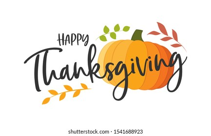 Happy Thanksgiving Pumpkin Leaves Autumn Fall Vector Illustration Background