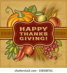 Happy Thanksgiving Retro Card. Fully editable EPS10 vector.