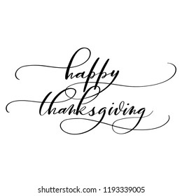 Happy Thanksgiving script calligraphy, isolated on white background. Vector illustration. Perfect for holiday type design.