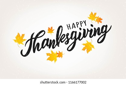 Happy Thanksgiving text. Hand lettering typography for logo, badge, icon, card, invitation and banner template. Greeting card for Thanksgiving day celebration. Vector illustration.