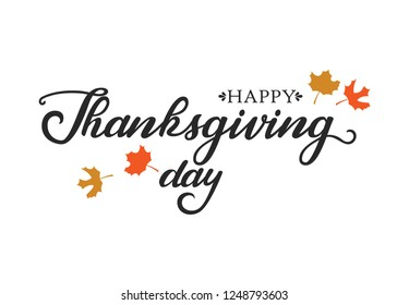 Happy Thanksgiving Text with Illustrated  on  White Background, Vector Typography