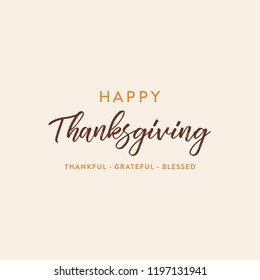 Happy Thanksgiving Thankful Grateful Blessed Vector Holiday Text Typography Background Banner Poster