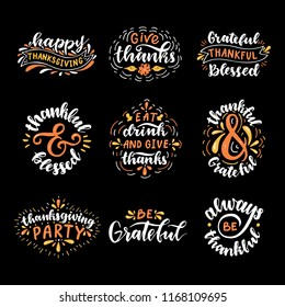 Happy Thanksgiving, Thankful & Grateful, Thanksgiving Party, Eat Drink and Give Thanks, Be Grateful. Hand drawn set.