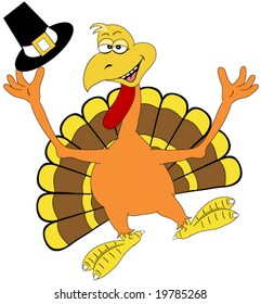 Happy Thanksgiving Turkey Vector.