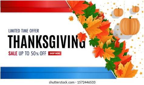 Happy Thanksgiving, USA Thanksgiving day. Modern template for sale promotion and advertising card, flyer, poster, banner. Decorated sale text, hanging paper pumkins and autumn leaves.
