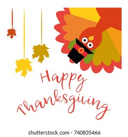 Happy Thanksgiving. Vector illustration. Greeting card with funny cartoon turkey