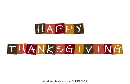 happy thanksgiving, vector letters in squares with traditional colors