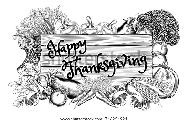 A Happy Thanksgiving vegetable and fruits produce sign design in a vintage retro woodcut style
