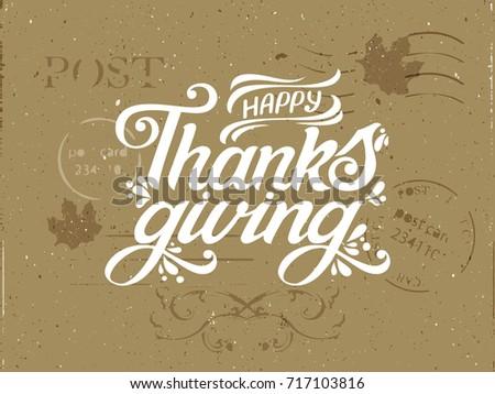 happy thanksgiving vintage postcardcongratulatory letter design