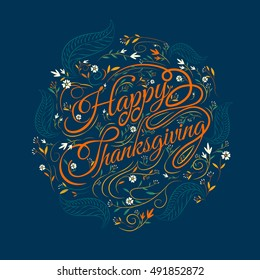 Happy  Thanksgiving,caligraphy font, autumn , leaves Background, vector Illustration