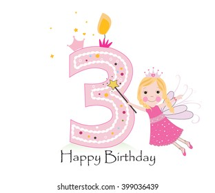 Happy Third Birthday Candle Baby Girl Greeting Card With Fairy Tale Vector Background