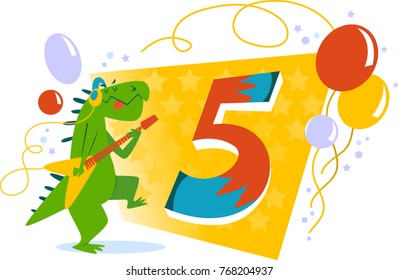 Happy Three Birthday card with dinosaur playing the guitar