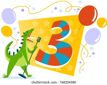 Happy Three Birthday card with singing dinosaur