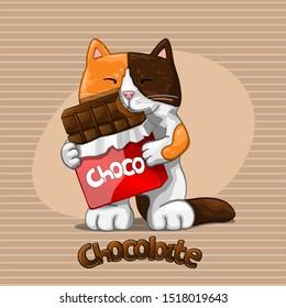 Happy three coloured kitty. Vector Illustration