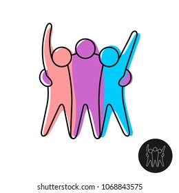 Happy three friends logo. Joyful people embrace together line style sign.
