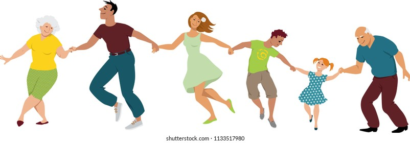 A happy three generation family dancing, holding hands, EPS 8 vector illustration