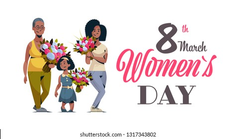 happy three generations african american women holding bouquet of flowers international 8 march day celebrating concept female characters full length horizontal greeting card - Shutterstock ID 1317343802