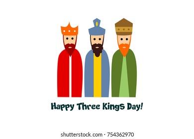 happy three kings day card. vector. editable