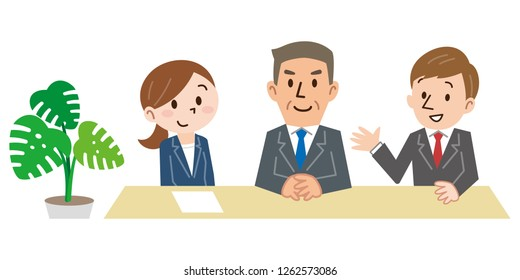 Happy three people sitting on chairs in a row and waiting for interview isolated on white background