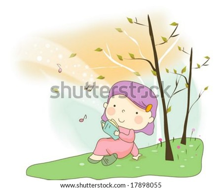 Happy Time with Cute Child - reading a book with lovely little girl in  green grass background with beautiful rural landscape - Vector 42ea5fbc41f47