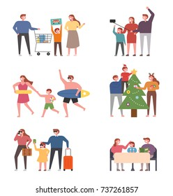 Happy time with family members. people character vector illustration flat design
