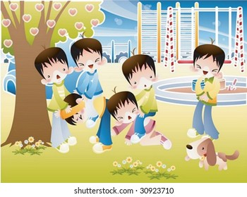 Happy Time with Kids Play Space - group of young children enjoy fun activities with cute puppy dog in the colorful playground on a background of sunny sky and green grass field : vector illustration