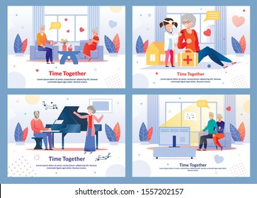 Happy Time Spending. Mature People Characters. Grandparents and Grandchildren. Rest and Relax at Home. Cultural Entertainment. Weekends and Holidays. Flat Banner Set. Vector Cartoon Illustration