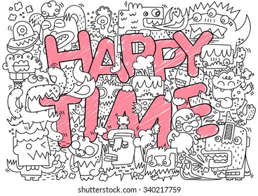 Happy Time typography with cute crazy monsters,  Funny monster doodle style, Vector illustration