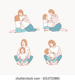 Happy time when mother and daughter spend together. hand drawn style vector doodle design illustrations.